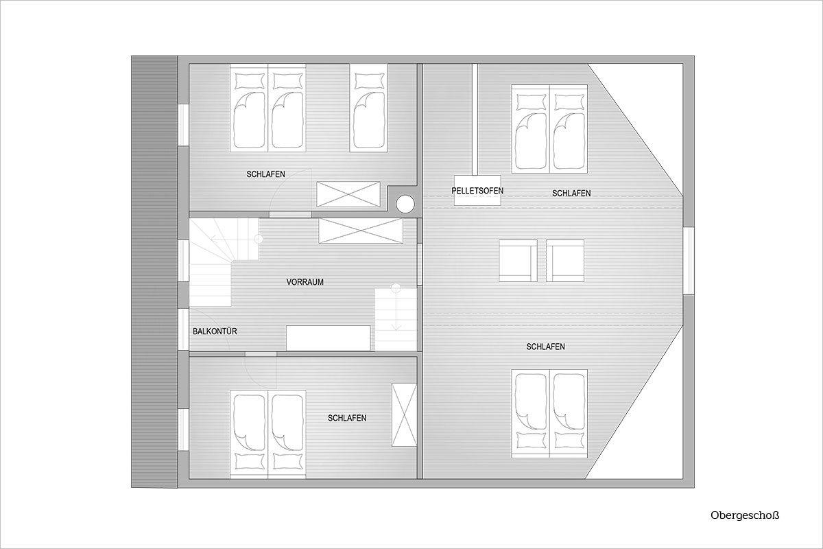 Grundriss Dachgeschoß - Design Ferienhaus Almhütte XL Ski Amadé