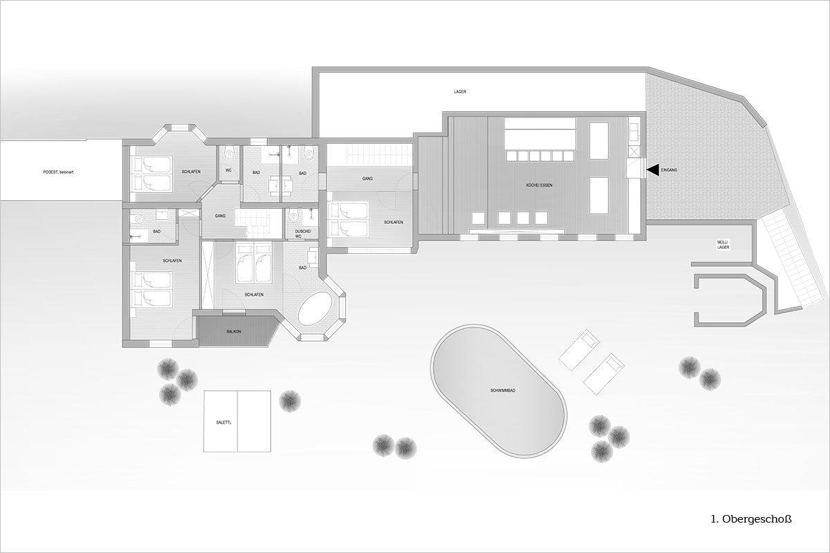 Grundriss 1. Obergeschoß - Design Ferienhaus Berg Chalet Millstätter See