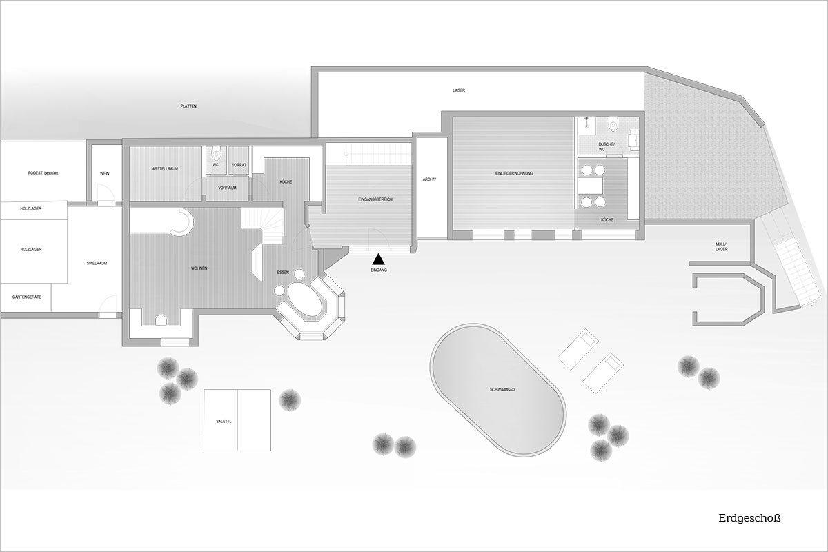 Grundriss Erdgeschoß - Design Ferienhaus Berg Chalet Millstätter See