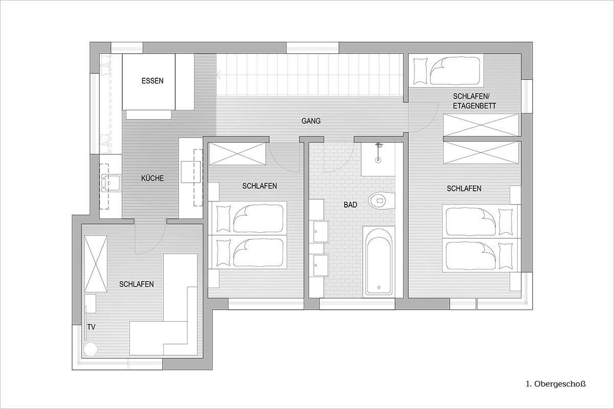 Grundriss Obergeschoß - Design Ferienhaus Altenmarkt-Zauchensee