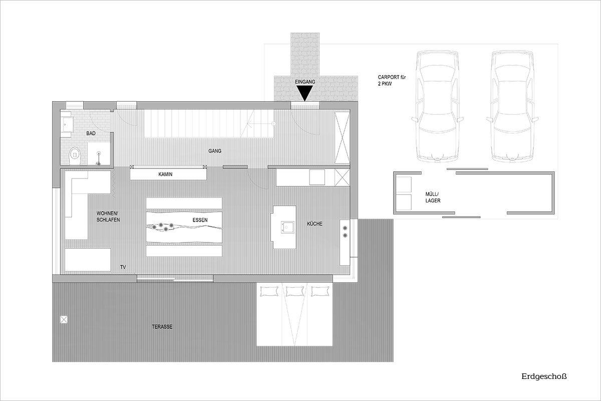 Grundriss Erdgeschoß - Design Ferienhaus Altenmarkt-Zauchensee