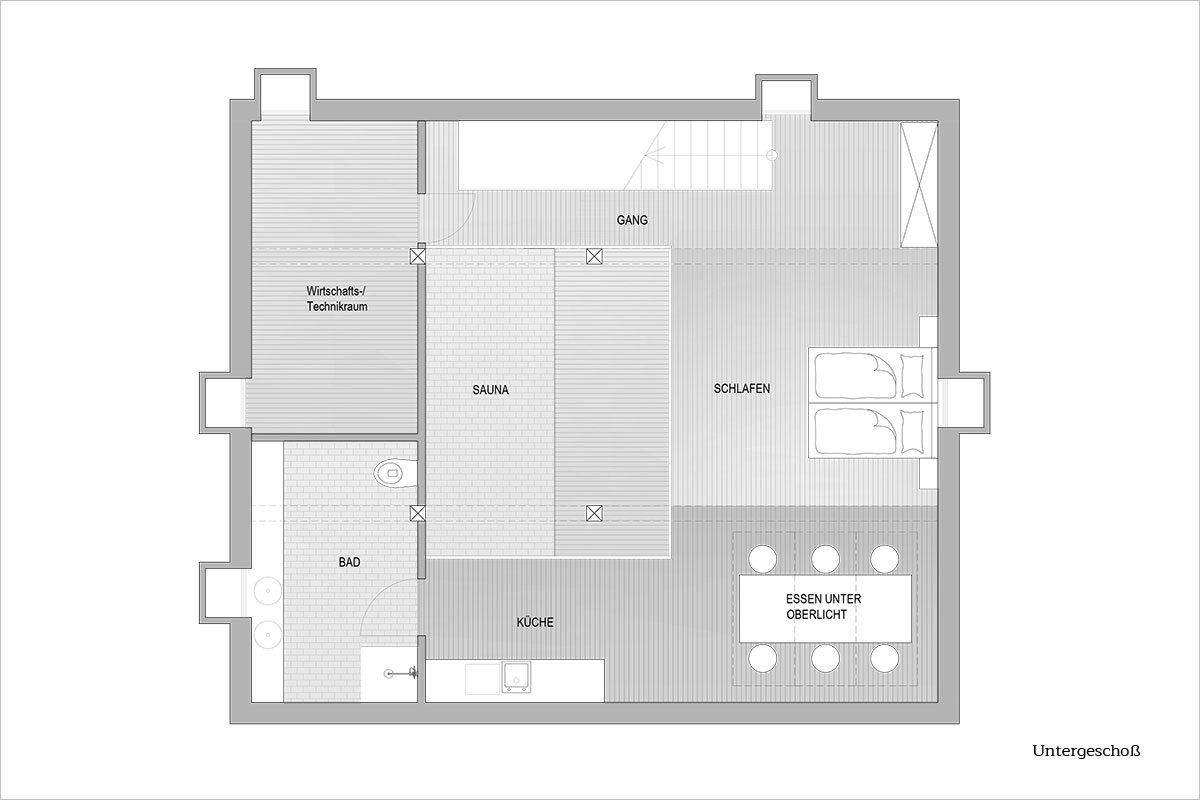 Grundriss Untergeschoß - Design Ferienhaus Altenmarkt-Zauchensee